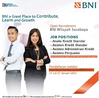 Open Recruitment at BNI Wilayah Surabaya Januari 2021