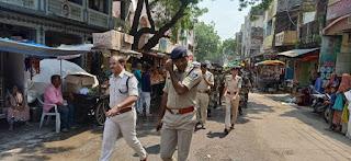 विधानसभा चुनाव को लेकर पुलिस ने निकाला फ्लैग मार्च