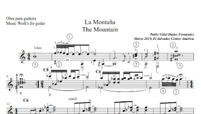 La Montaña de Pablo Vidal Ibáñez Partitura de Guitarra con digitación