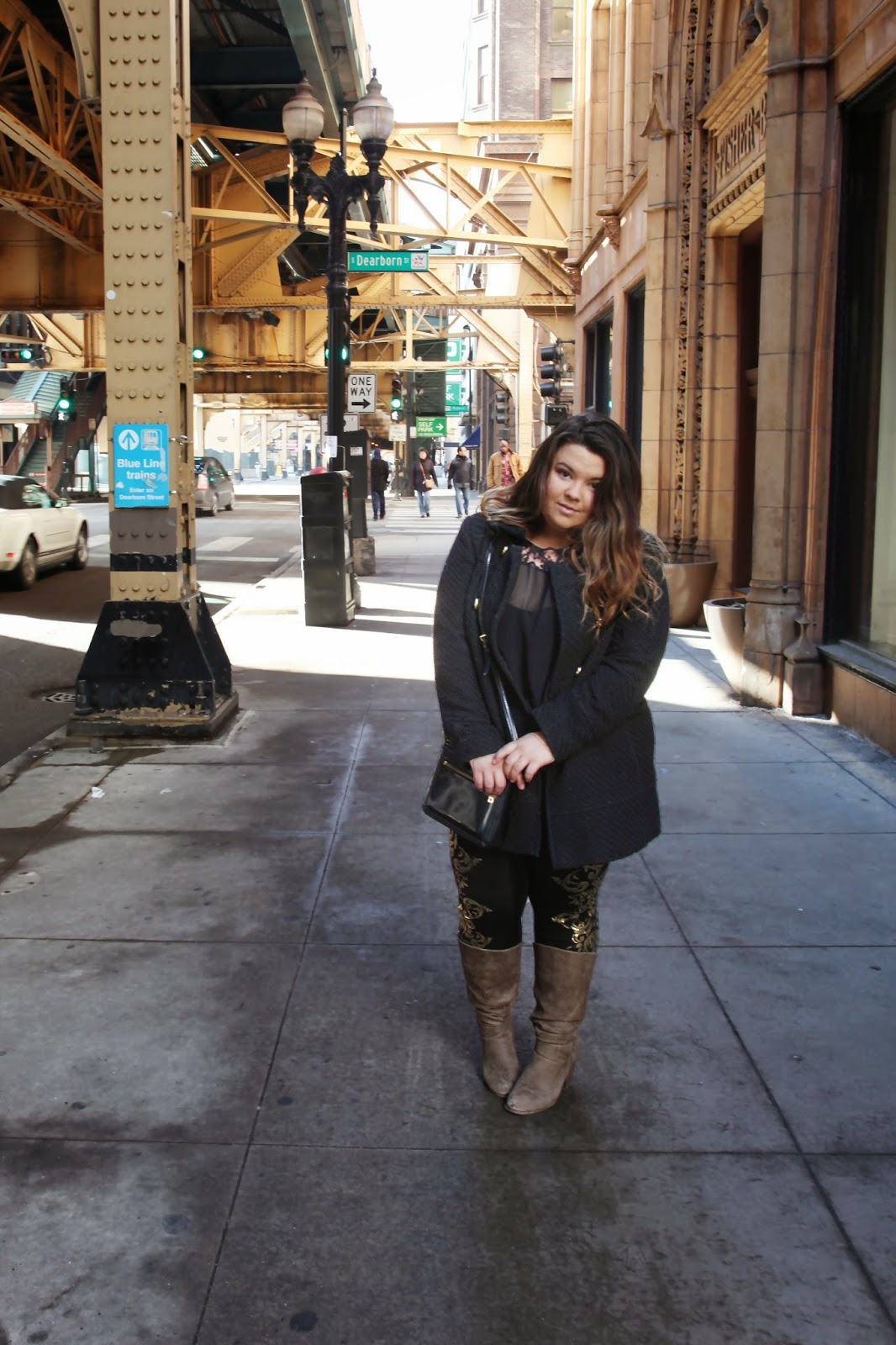 lauren by ralph lauren, gold embellished leggings, baby doll coat, a touch of glam, natalie in the city, chicago, fashion blogger, plus size fashion blogger, curvy fashionista, fashion, natalie craig, betsey johnson, forever 21 plus
