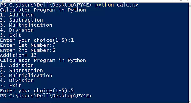Calculator Program in Python using while loop