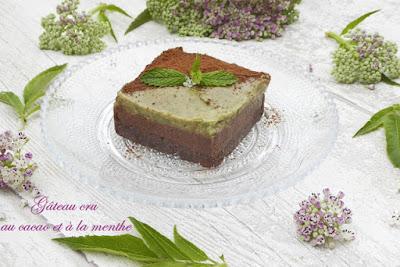 gâteau carré menthe chocolat décoré de feuilles de menthe.