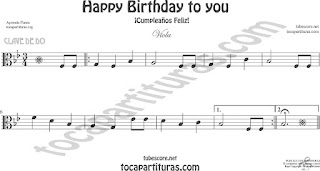 Viola Partitura de Happy birthday to you (Cumpleaños Feliz) Sheet Music for Viola Music Score