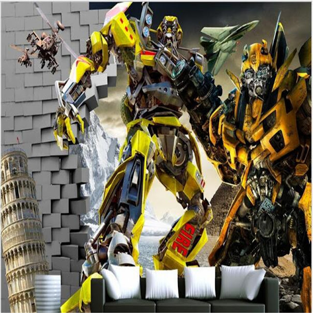 Transformers wall mural wallpaper for bedroom 3D Transformers Wallpaper Children Room Boy Bedroom Photo Wallpaper murals wall paper brick wall Bumblebee