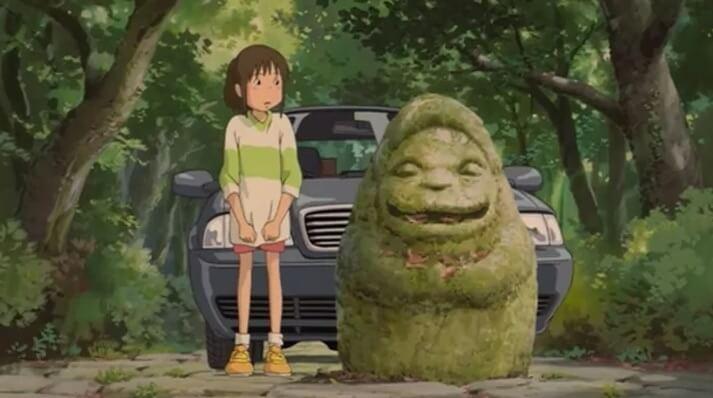 chihiro standing next to yama uba in spirited away
