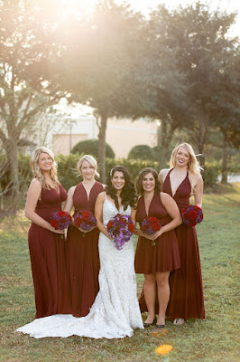 maroon and purple bridal party