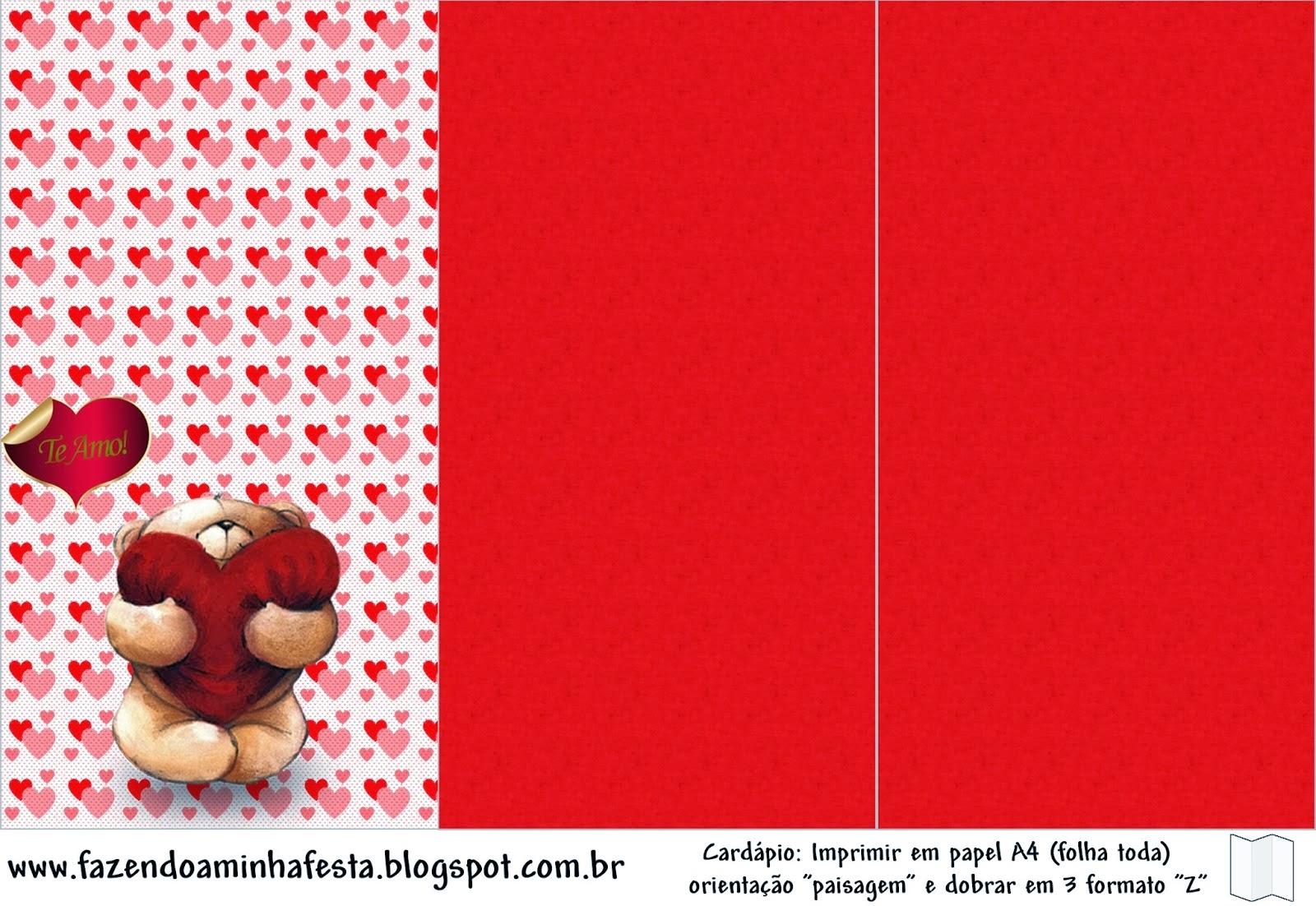 Osito con corazón: Imprimibles y Tarjetería para Imprimir Gratis ...