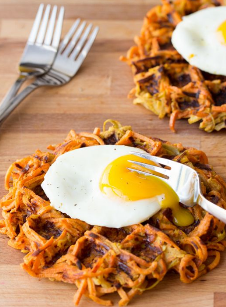 CINNAMON APPLE SWEET POTATO WAFFLES