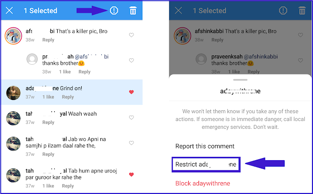 Restrict someone on instagram through comment