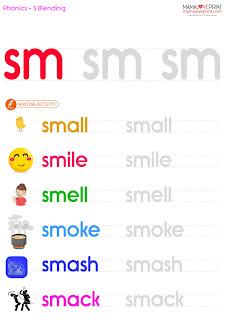 Mama Love Print 自製工作紙 - Phonics Resources 英文拼音練習 S-Blend (sc , sk , sl , sm , sn , sp , st , sw) Phonics Kindergarten Printable Activities Free Download