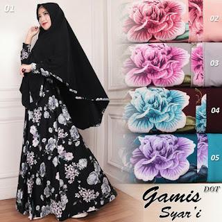 baju gamis batik kombinasi untuk orang gemuk