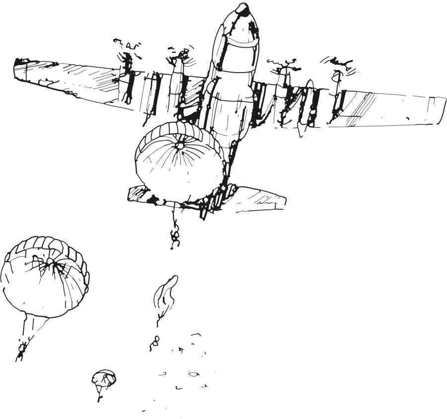 Ilumina La Imagen De Paracaidistas Saltando De Un Avión