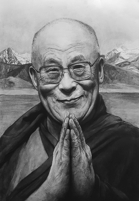 02-The-14th-Dalai-Lama-Liu-Ling-Faces-of-Writers-in-Charcoal-Drawings-www-designstack-co