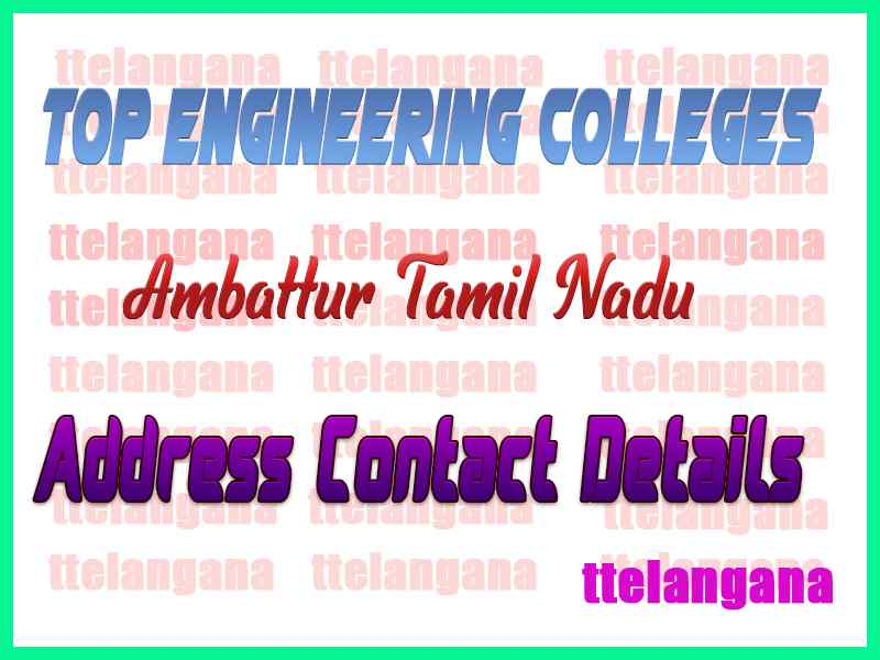 Top Engineering Colleges in Ambattur Tamil Nadu