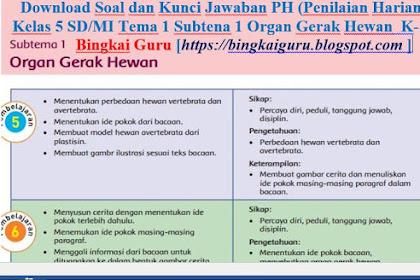 Download Soal dan Kunci Jawaban PH (Penilaian Harian) Kelas 5 SD/MI Tema 1 Subtena 1 Organ Gerak Hewan  K-13