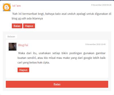 Hasil Cara Mengatasi Tombol Reply atau Balas Komentar di Blogger Tidak Berfungsi