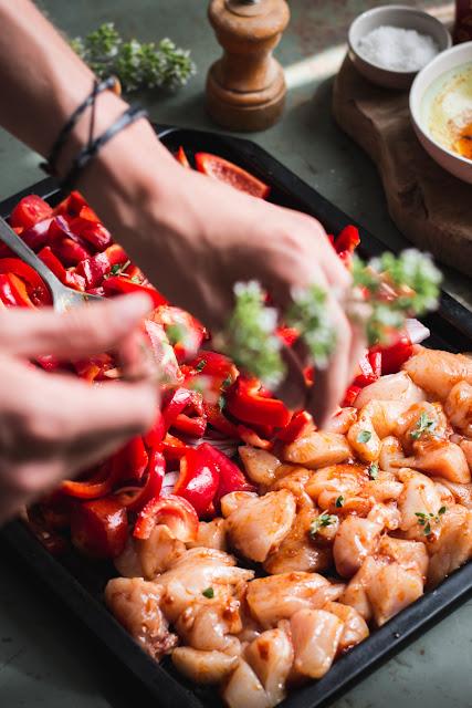 Fajitas au poulet et légumes, préparation