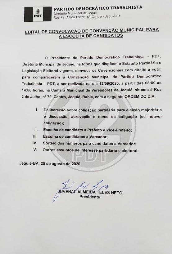 PDT Jequié fará Convenção partidária  no dia 12 de setembro