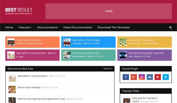 Best Result Blogger Template Premium Version