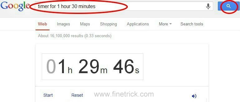 Set / type the timer you need on Google search column example : timer for 1 hours 30 minutes (it means: make timer for 1 hour and 30 minutes)