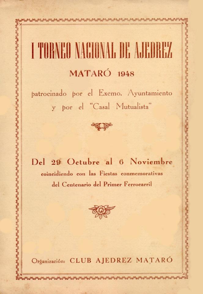 Portada del díptico del I Torneo Nacional de Ajedrez de Mataró-1948