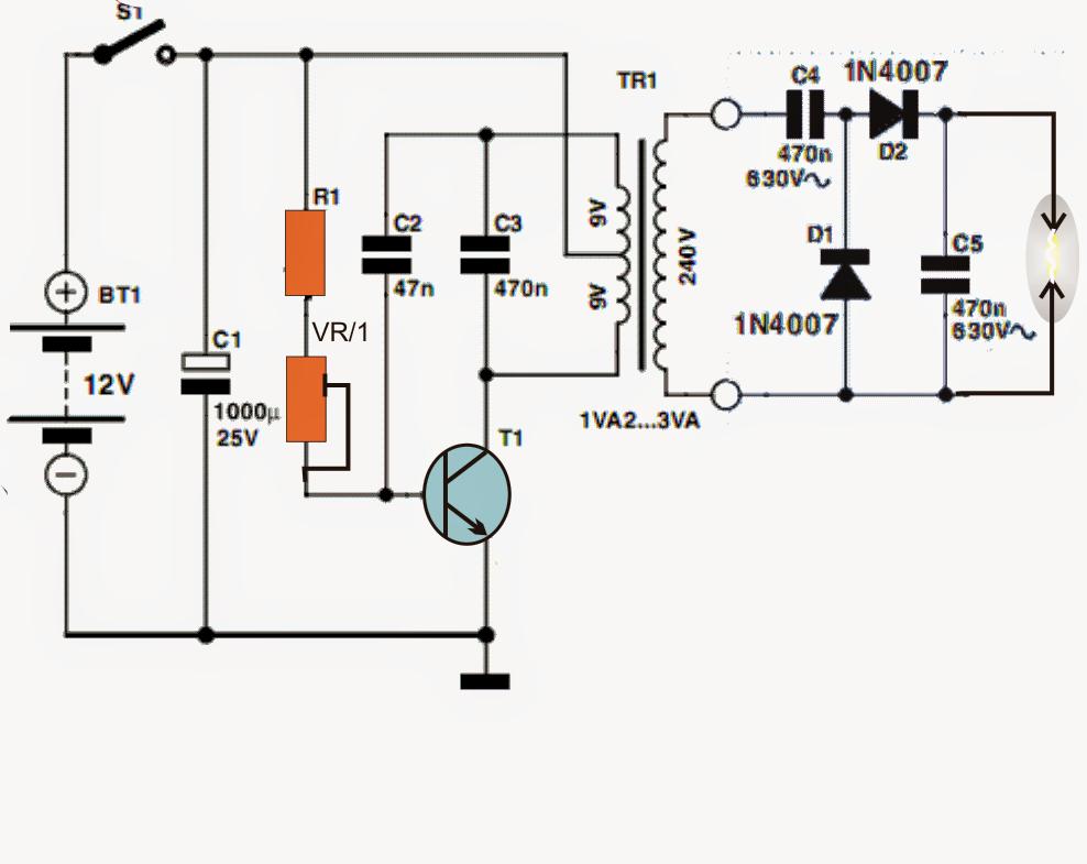 circuit diagram high voltage generator
