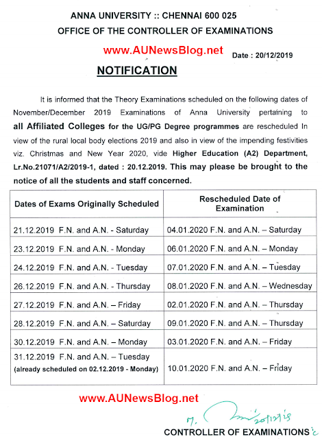 Anna University postponed 21st to 31st Dec 2019 exams & Rescheduled date published