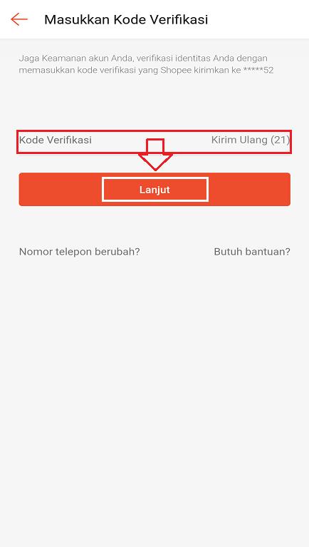Memasukan Kode Verifikasi Pengajuan Penghapusan Akun Shopee.