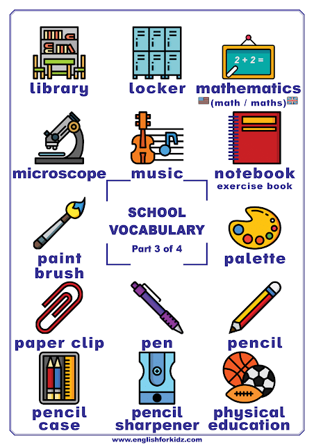 School vocabulary for English learners