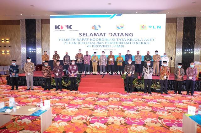 Kapolda Jambi hadiri Rakor Perbaikan Tata Kelola Aset dan Penyerahan Sertifikat Pemda dan PT PLN