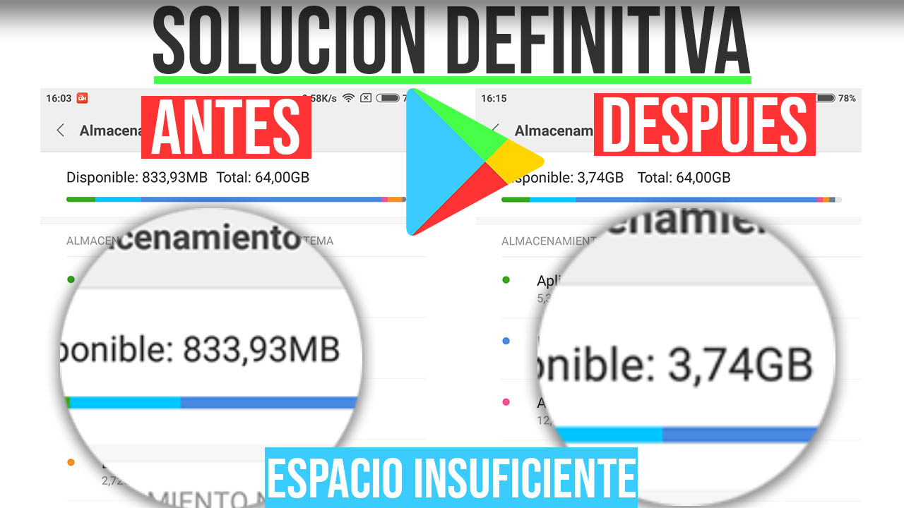 Error Espacio Insuficiente Play Store SOLUCION - SIN ROOT
