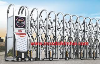 1435307097 91 cong xep nhap khau f815 Cột cờ inox 304 cao 9m 10 m 11m 12m, cổng xếp inox 304 , cổng xếp sắt không ray kéo tay