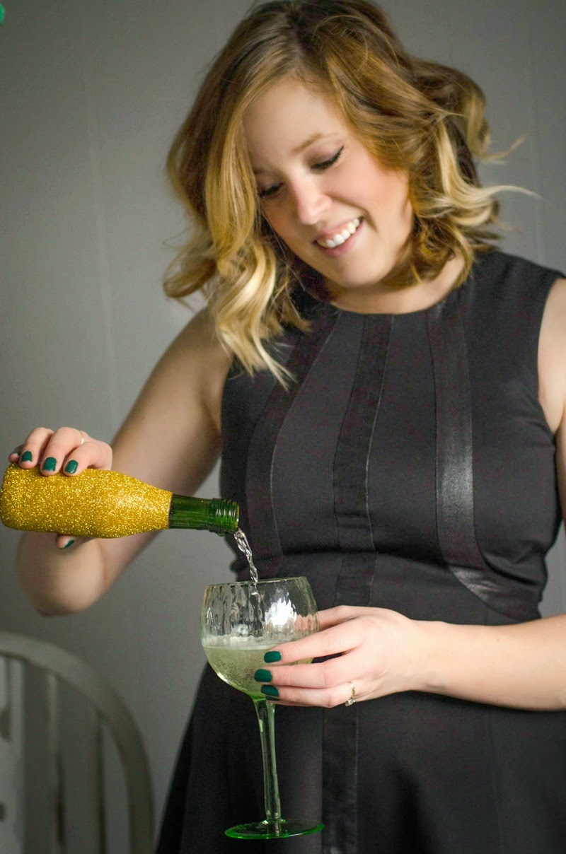 St. Patrick's Day Blogger Party - Glittered Mini Champagne Bottles and glass
