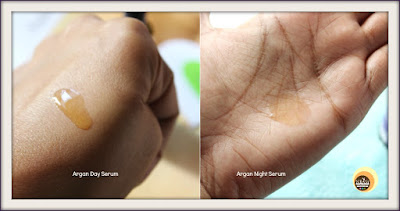 Consistency of Aroma Essentials Argan Day Serum & Argan Night Serum