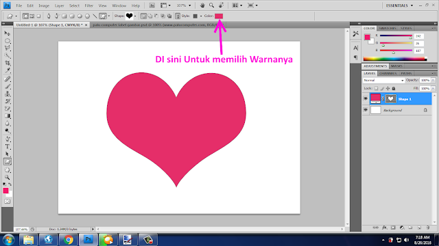 cara membuat love di photoshop