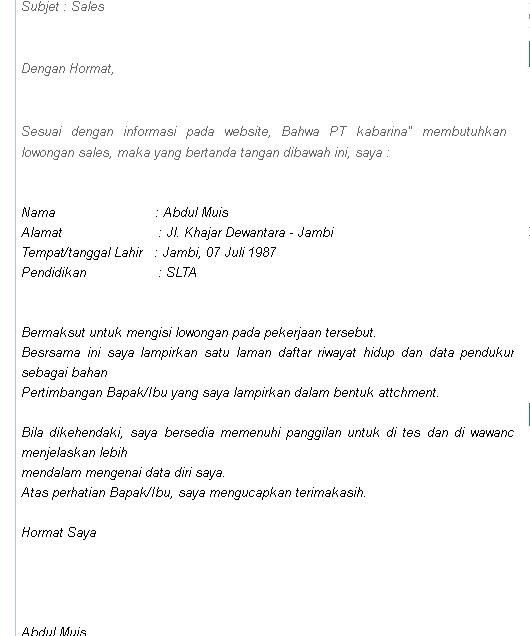 Contoh Surat Lamaran Kerja Via Email Pdf Gontoh