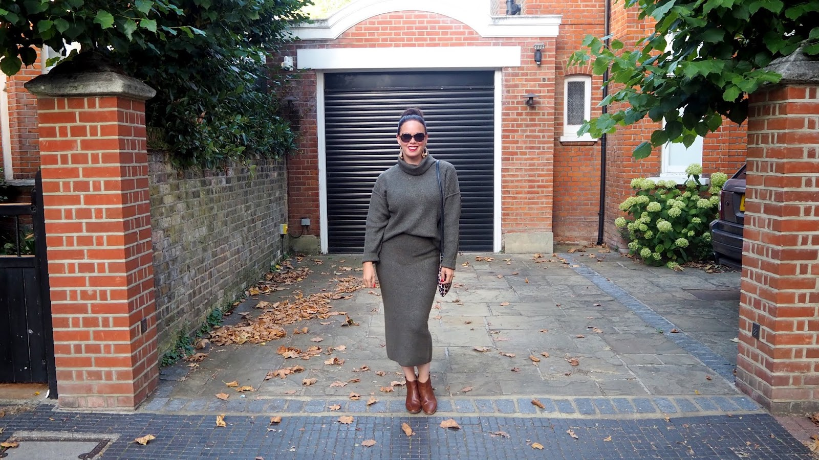 Olive Green Knit Co-ord sweater and skirt