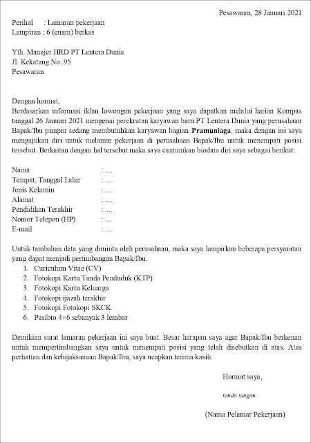 Contoh Surat Lamaran Kerja Untuk Pramuniaga (Fresh Graduate)