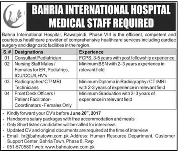 Medical Staff Jobs In Bahria International Hospital Rawalpindi 12 Jun 2017