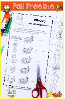 Teach multiple meaning words with this cute owl freebie for fall. www.speechsproutstherapy.com