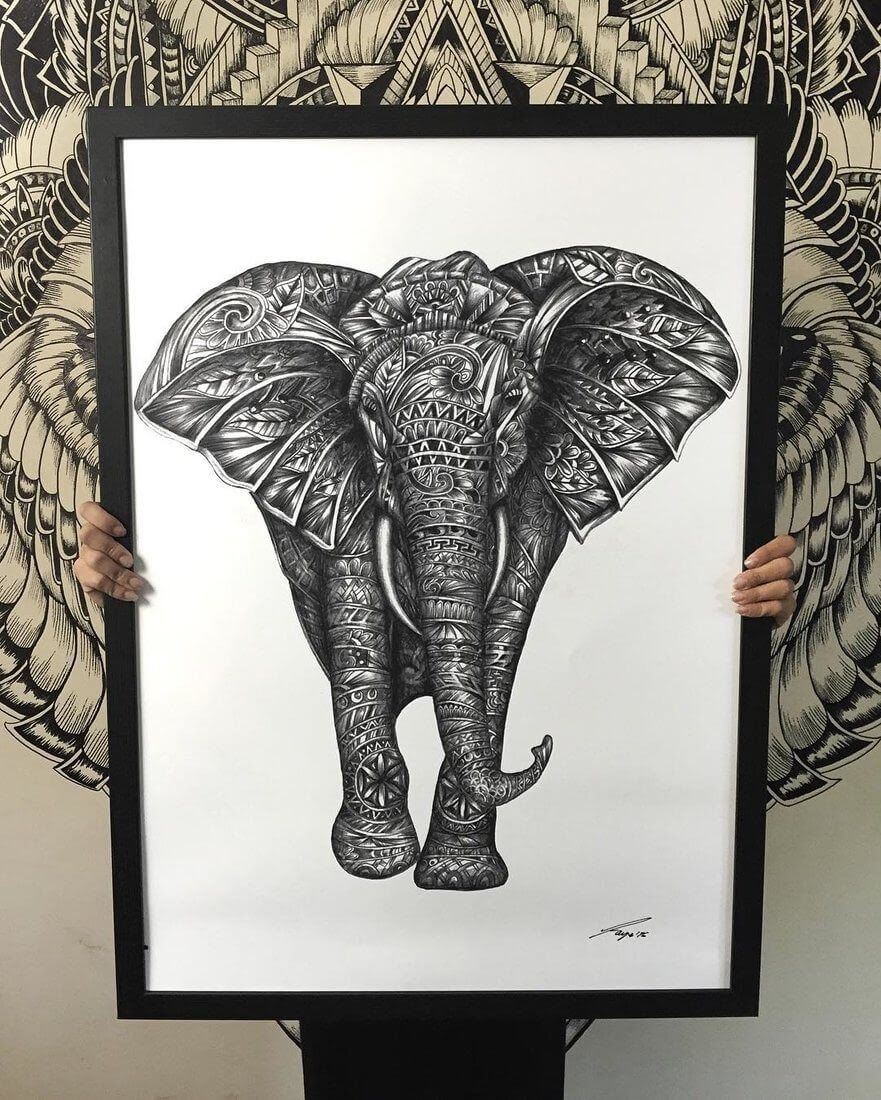 03-Elephant-Faye-Halliday-Animals-with-Zentangle-Detailing-www-designstack-co