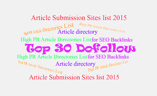 Dofollow High PR Article Directories List