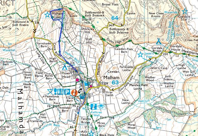 Malham Cove walk map route