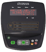 Octane xR4x console, image, with 20 resistance levels, Quick Start, 3 workout boosters, X-Mode, Chest Press, Leg Press. Displays workout stats including time, speed, distance, calories, heart-rate