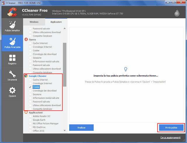 CCleaner Pulizia avanzata eliminare solo i cookie di Chrome