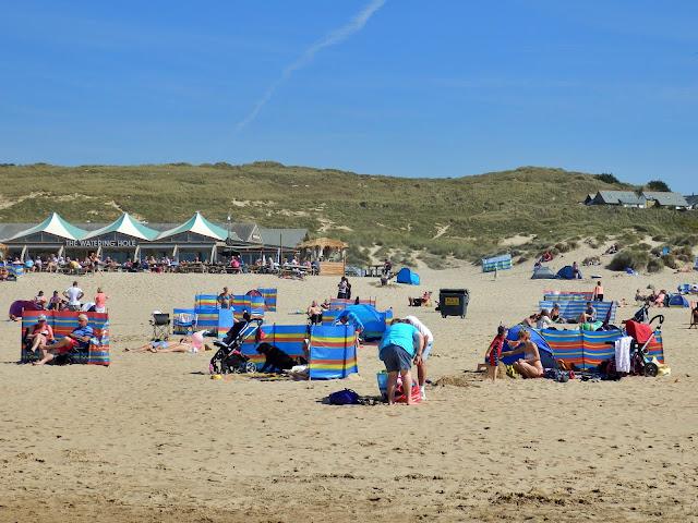 People on Perranporth Beach, Cornwall