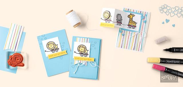 Karten zum Baby Stampin Up Verspieltes zur Geburt