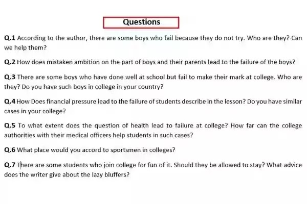 Why Boys Fail In College Chapter III