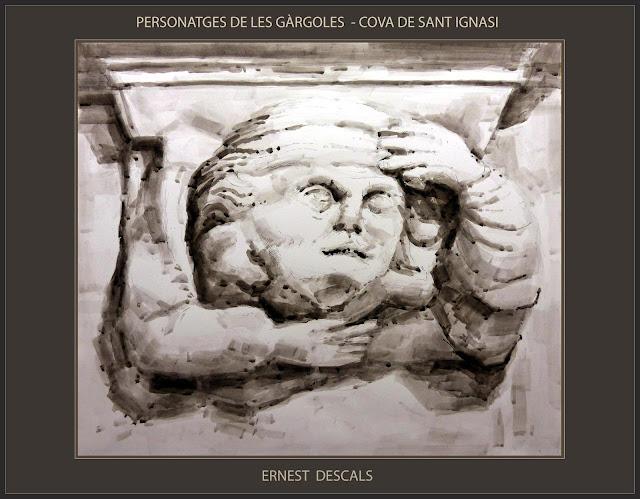 COVA-MANRESA-SANT IGNASI-GÀRGOLES-PERSONATGES-DIBUIX-CONCURS-JOAN VILANOVA-ARTISTA-PINTOR-ERNEST DESCALS-