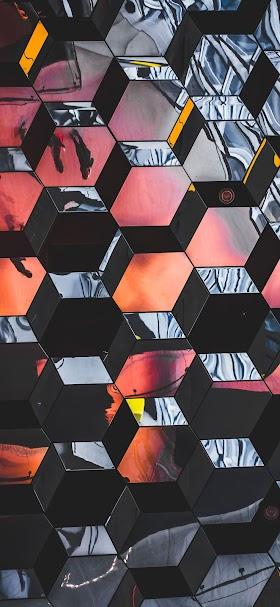 خلفية مربعات زجاجية عاكسة متعددة الألوان